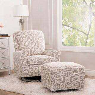 Abbyson Chase Grey Floral Swivel Glider Chair and Ottoman