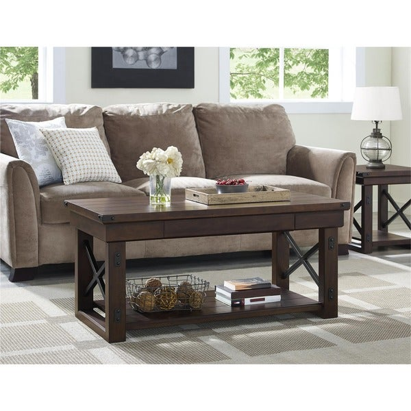 Ameriwood Home Wildwood Wood Mahogany Veneer Coffee Table - Free