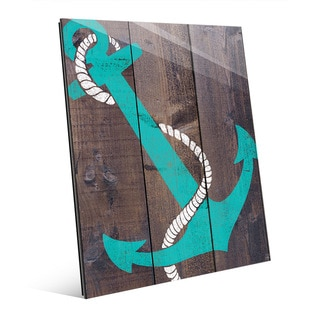 Anchor Teal Wall Art on Glass