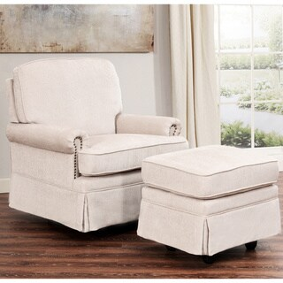 Abbyson Chloe Cream Hardwood/Steel/Fabric Swivel Glider Chair and Ottoman