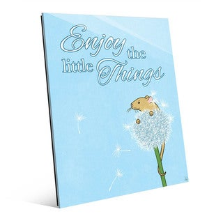 Little Things Mouse Blue Glass Wall Art