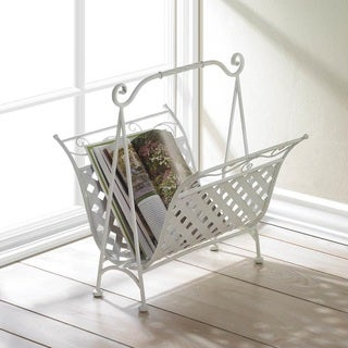 Beverly White Iron Magazine Rack