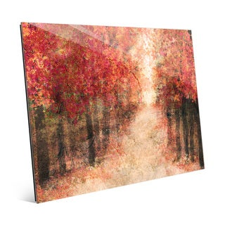 'Red Fall Forest' Glass Wall Art