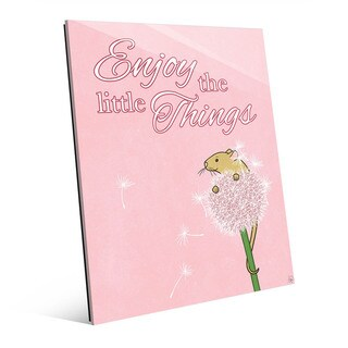'Little Things Mouse' Pink Wall Art on Glass