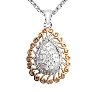 Orchid Jewelry 4/9-Carat Round Cut Cubic Zirconia Two Tone Sterling Silver Necklace