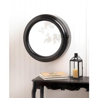 Avalon Modern Round Wall Cabinet With Mirror - Black/Espresso