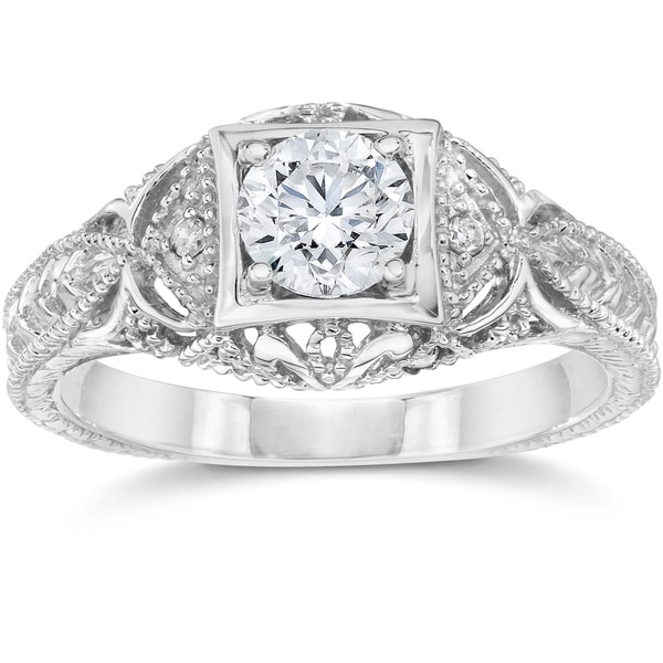 14k White Gold 5/8 ct TDW Vintage Diamond Antique Engagement Ring. Opens flyout.