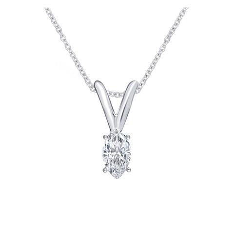 Divina 14k White Gold 1/6ct TDW Diamond Marquise Solitaire Pendant (J-K, I2-I3) - n/a