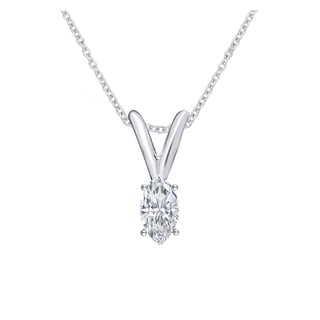 Divina 14k White Gold 1/6ct TDW Diamond IGL Certified Marquise Solitaire Pendant (J-K, I2-I3)