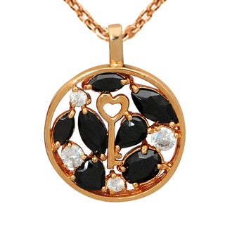 Orchid Jewelry Rose Gold Over Sterling Silver 3 6 7 Carat Cubic Zirconia Round Pendant Necklace
