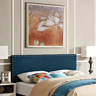 Phoebe Azure Full Fabric Nail Button Trim-accented Headboard