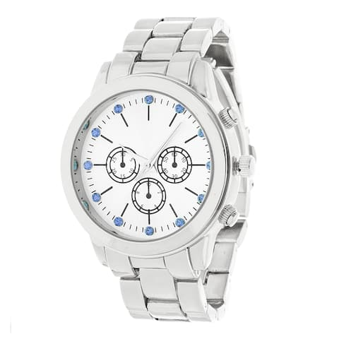 Fortune NYC Silver Alloy Case w/ Stainless Steel Back and Alloy Strap Watch
