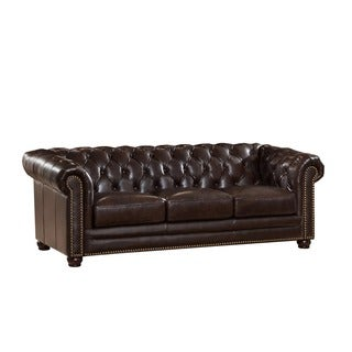 Kensington Top Grain Leather Chesterfield Sofa with Feather Down Seating