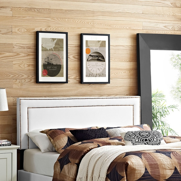 Modway Jessamine White Wood and Vinyl Full Headboard 20641228