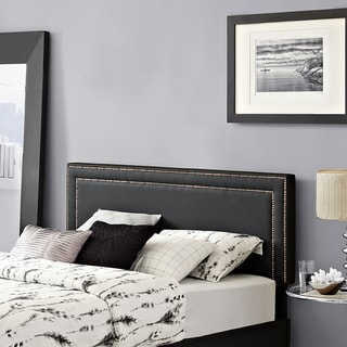 Jessamine Black Full Vinyl Nail Button Trim-accented Headboard