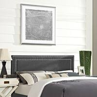 Modway Jessamine Grey Polyester/Solid Wood Full-size Upholstered Headboard