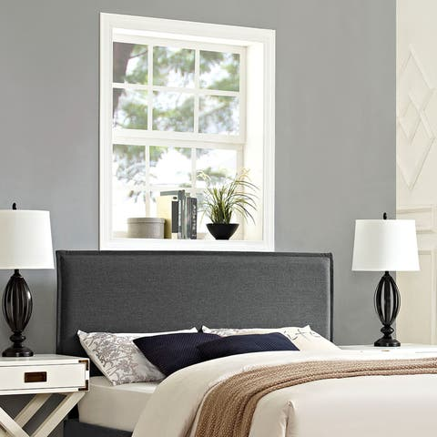 Modway Camille Grey Polyester/Solid Wood Full-size Upholstered Headboard