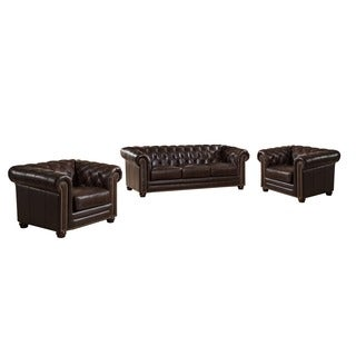 Kensington Top Grain Leather Chesterfield Sofa and Two Chair Set with Feather Down Seating