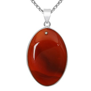 Orchid Jewelry 25 Carat Agate Oval 925 Sterling Silver Necklace