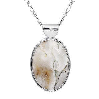 Orchid Jewelry 45 Carat Howlite 925 Sterling Silver Necklace