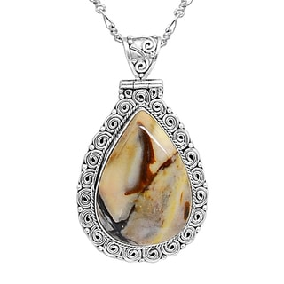 Orchid Jewelry 38 Carat Mookite Jasper 925 Sterling Silver Necklace