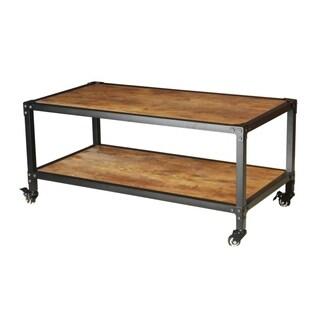 Urban Port Black/Brown Wood Antiqued Coffee Table