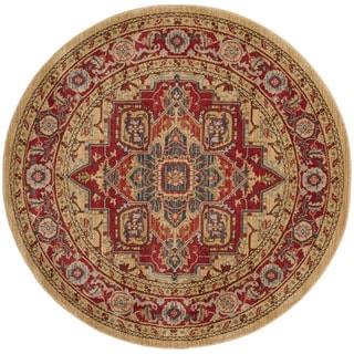 Safavieh Mahal Traditional Grandeur Red/ Natural Rug (5' Round)