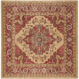 Safavieh Mahal Traditional Grandeur Red/ Natural Rug (9' Square)