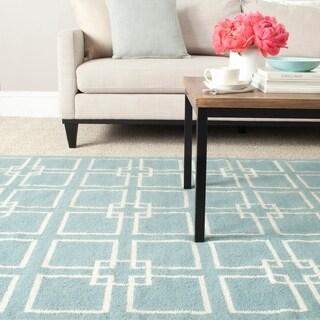 Safavieh Martha Stewart Collection Geyser Blue Wool / Silk Rug (7' Square)