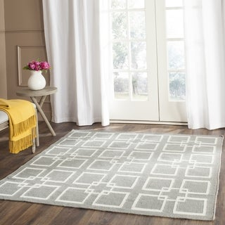 Martha Stewart by Safavieh Square Dance Cement Grey Wool / Silk Rug (7' Square)