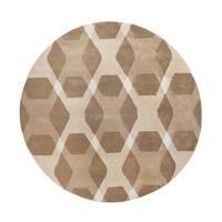 Martha Stewart by Safavieh Overlapping Diamond Beige/ Multi Wool Rug - 4' Round