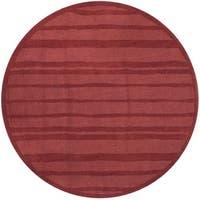 Martha Stewart by Safavieh Freehand Stripe Vermillion Wool Rug - 8' x 8' Round