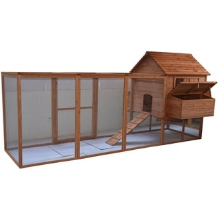 Pawhut 144-inch Large Backyard Hen House Chicken Coop with Long Run