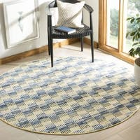 Safavieh Hand-Woven Montauk Flatweave Gold / Multicolored Cotton Rug - 4' Round