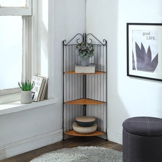 Black Metal and Wicker Three Tier Corner Shelf
