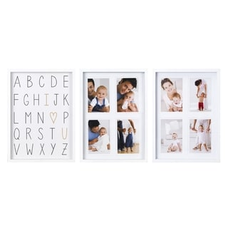 Melannco White Plastic 8-opening Alphabet Photo Collages (Pack of 3)