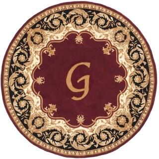 Safavieh Handmade Naples Maroon / Beige Wool Rug (6' Round)
