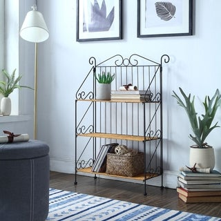 Tan/Black Metal/Wicker 3-tier Folding Bookcase
