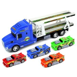 Velocity Toys Animal World Ready To Run Children's Friction Toy Trailer Transporter Truck 1:24 Scale With 4 Toy Cars