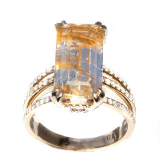 14k Yellow Gold Topaz and 5/8ct TDW Diamond Ring (G-H, VS1-VS2)