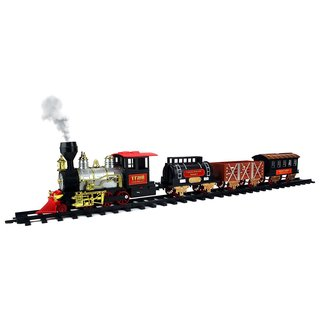Velocity Toys Classical Express Big Size 20-piece Battery-operated Real Smoke/Lights/Sounds Toy Train Set