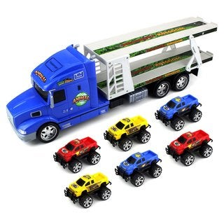 Animal World Truck Trailer Children's Ready to Run 1:24 Scale Friction-powered Toy Transporter Truck With 6 Toy Trucks