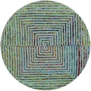 Safavieh Handmade Nantucket Abstract Teal Wool / Cotton Rug (6' Round)