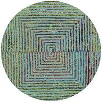 Safavieh Handmade Nantucket Abstract Teal Wool / Cotton Rug - 6' Round