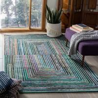 Safavieh Handmade Nantucket Abstract Teal Wool / Cotton Rug - 6' Square