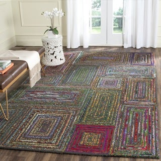 Safavieh Handmade Nantucket Abstract Charcoal Wool / Cotton Rug (6' Square)