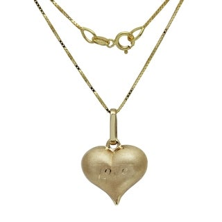 14k Yellow Gold Heart 'Love' 18-inch Pendant Necklace