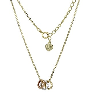 14k Yellow Gold Tricolor Circles Adjustable Weekend Necklace