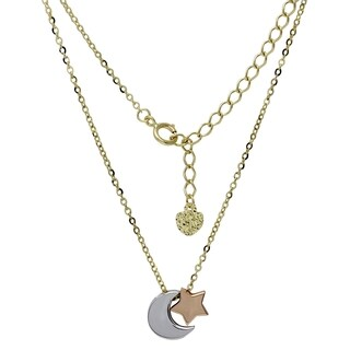 Women's 14k White and Yellow Gold Star and Moon Adjustable Necklace