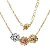 14k Tri-Color Gold Heart Design Adjustable Necklace
